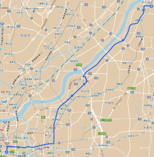 大阪市役所から枚方市のひらかたパークまでの道のり