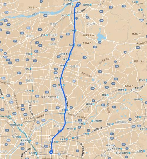 名古屋栄から犬山市の日本モンキーパークまでの道のり